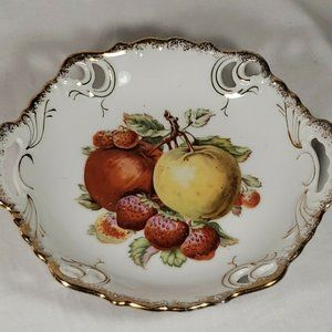 Antique  Porcelain Hand Painted Plate Gold Trimmed
